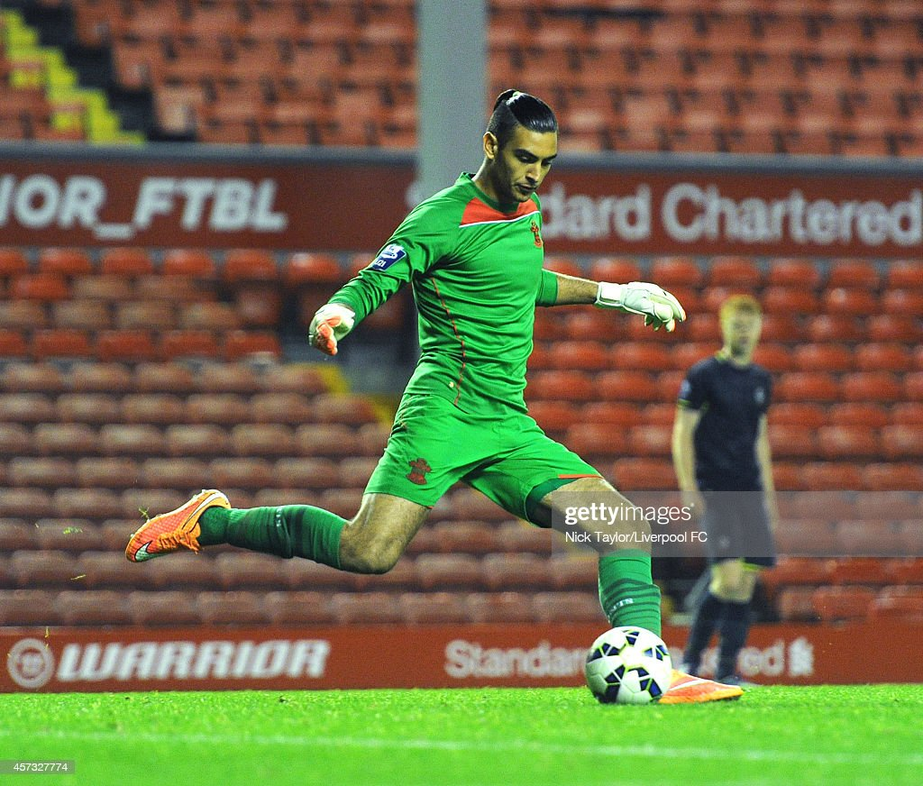 Paulo Gazzaniga of Southampton in action during the Barclays Premier League Under 21 fixture between Liverpool and Southampton at Anfield on October 16 in Liverpool, England.