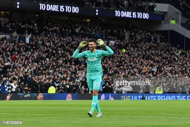 Paulo Gazzaniga of Tottenham celebrates his team's first goal during the Premier League match between Tottenham Hotspur and Burnley at White Hart...