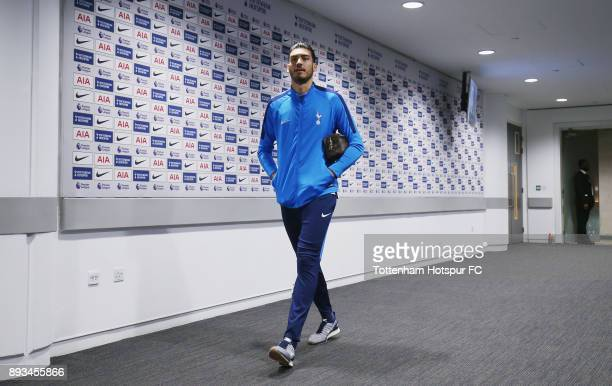 Paulo Gazzaniga of Tottenham Hotspur arrives prior to the Premier League match between Tottenham Hotspur and Brighton and Hove Albion at Wembley...
