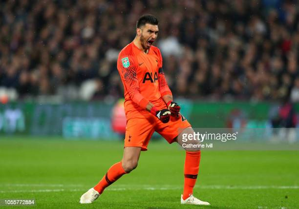 Paulo Gazzaniga of Tottenham Hotspur celebrates his sides first goal during the Carabao Cup Fourth Round match between West Ham United and Tottenham...