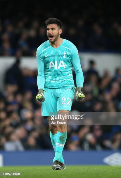 Paulo Gazzaniga of Tottenham Hotspur celebrates his sides first goal scored by Dele Alli of Tottenham Hotspur during the Premier League match between...