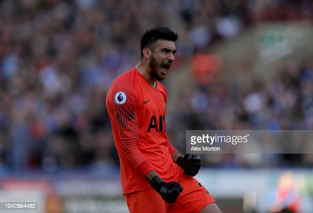 Paulo Gazzaniga of Tottenham Hotspur celebrates his sides opening goal during the Premier League match between Huddersfield Town and Tottenham...
