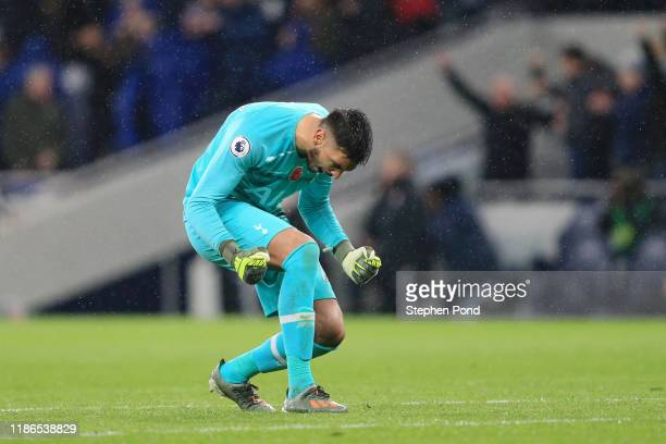 Paulo Gazzaniga of Tottenham Hotspur celebrates his team's first goal during the Premier League match between Tottenham Hotspur and Sheffield United...