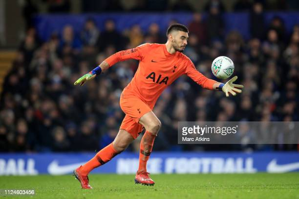 Paulo Gazzaniga of Tottenham Hotspur during the Carabao Cup SemiFinal Second Leg match between Chelsea and Tottenham Hotspur at Stamford Bridge on...