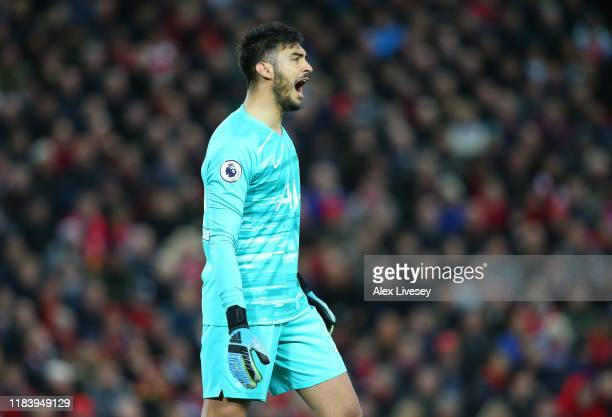 Paulo Gazzaniga of Tottenham Hotspur during the Premier League match between Liverpool FC and Tottenham Hotspur at Anfield on October 27 2019 in...
