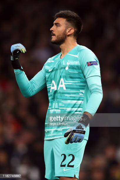 Paulo Gazzaniga of Tottenham Hotspur instructs his players during the UEFA Champions League group B match between Tottenham Hotspur and Crvena Zvezda...