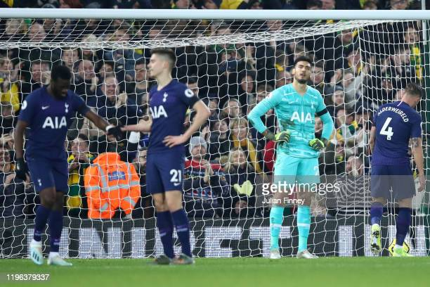 Paulo Gazzaniga of Tottenham Hotspur looks dejected after conceding their first goal during the Premier League match between Norwich City and...