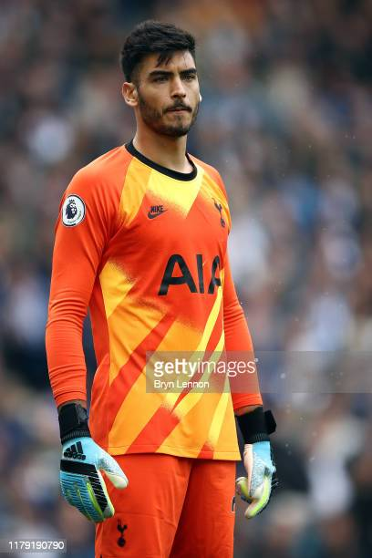 Paulo Gazzaniga of Tottenham Hotspur looks on during the Premier League match between Brighton Hove Albion and Tottenham Hotspur at American Express...