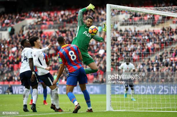 Paulo Gazzaniga of Tottenham Hotspur makes a save during the Premier League match between Tottenham Hotspur and Crystal Palace at Wembley Stadium on...