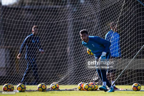 Paulo Gazzaniga of Tottenham Hotspur plays the ball during a training session during day three of the Tottenham Hotspur midseason training camp at...