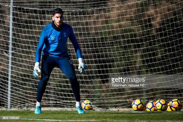 Paulo Gazzaniga of Tottenham Hotspur prepares to block a ball during a training session during day one of the Tottenham Hotspur midseason training...