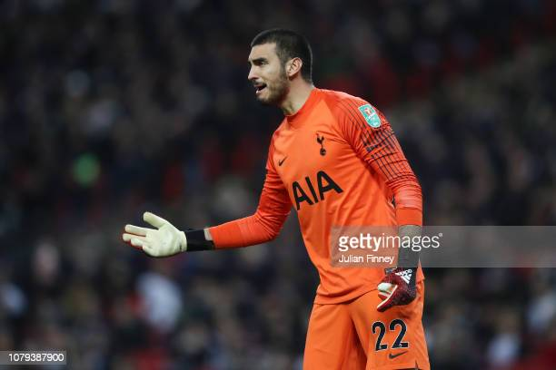 Paulo Gazzaniga of Tottenham Hotspur reacts during the Carabao Cup SemiFinal First Leg match between Tottenham Hotspur and Chelsea at Wembley Stadium...