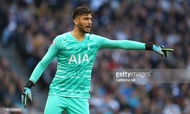 Paulo Gazzaniga of Tottenham Hotspur reacts during the Premier League match between Tottenham Hotspur and Watford FC at Tottenham Hotspur Stadium on...