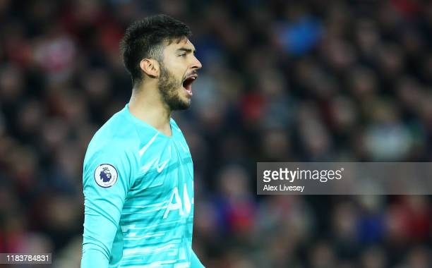 Paulo Gazzaniga of Tottenham Hotspur reacts during the Premier League match between Liverpool FC and Tottenham Hotspur at Anfield on October 27 2019...