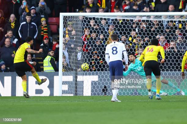 Paulo Gazzaniga of Tottenham Hotspur saves the penalty from Troy Deeney of Watford during the Premier League match between Watford FC and Tottenham...