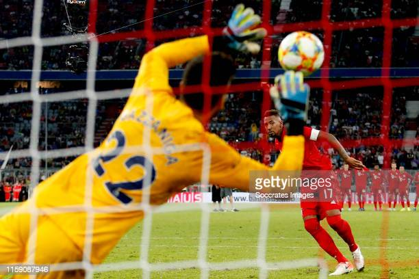 Paulo Gazzaniga of Tottenham Hotspur stopped a penalty of Jerome Boateng of Bayern Munchen during the Audi Cup match between Tottenham Hotspur v...