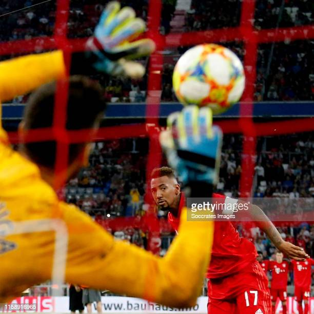 Paulo Gazzaniga of Tottenham Hotspur stopped the penalty of Jerome Boateng of Bayern Munchen during the Audi Cup match between Tottenham Hotspur v...