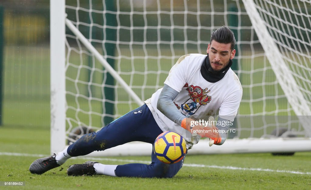 Paulo Gazzaniga of Tottenham Hotspur trains in a Chinese New Year t-shirt ahead of the north london derby during the Tottenham Hotspur training session at Tottenham Hotspur Training Centre on February 9, 2018 in Enfield, England.