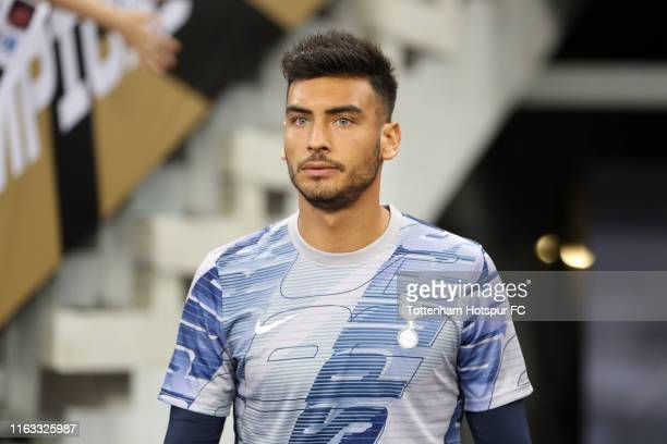 Paulo Gazzaniga of Tottenham Hotspur walks into the pitch for a warmup prior to the International Champions Cup match between Juventus and Tottenham...