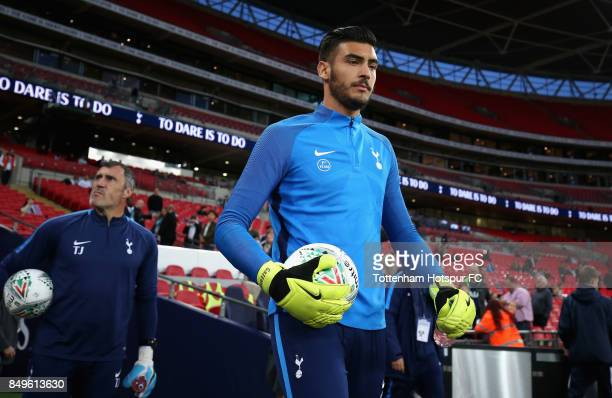 Paulo Gazzaniga of Tottenham Hotspur walks out to warm up prior to the Carabao Cup Third Round match between Tottenham Hotspur and Barnsley at...