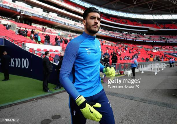 Paulo Gazzaniga of Tottenham Hotspur walks out to warm up prior to the Premier League match between Tottenham Hotspur and Crystal Palace at Wembley...