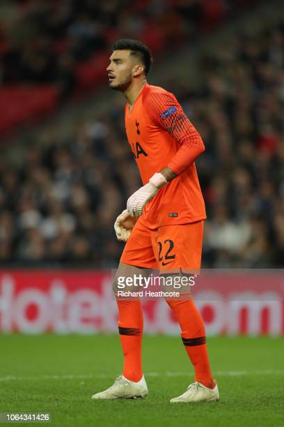 Paulo Gazzaniga of Tottenham in action during the Group B match of the UEFA Champions League between Tottenham Hotspur and PSV at Wembley Stadium on...