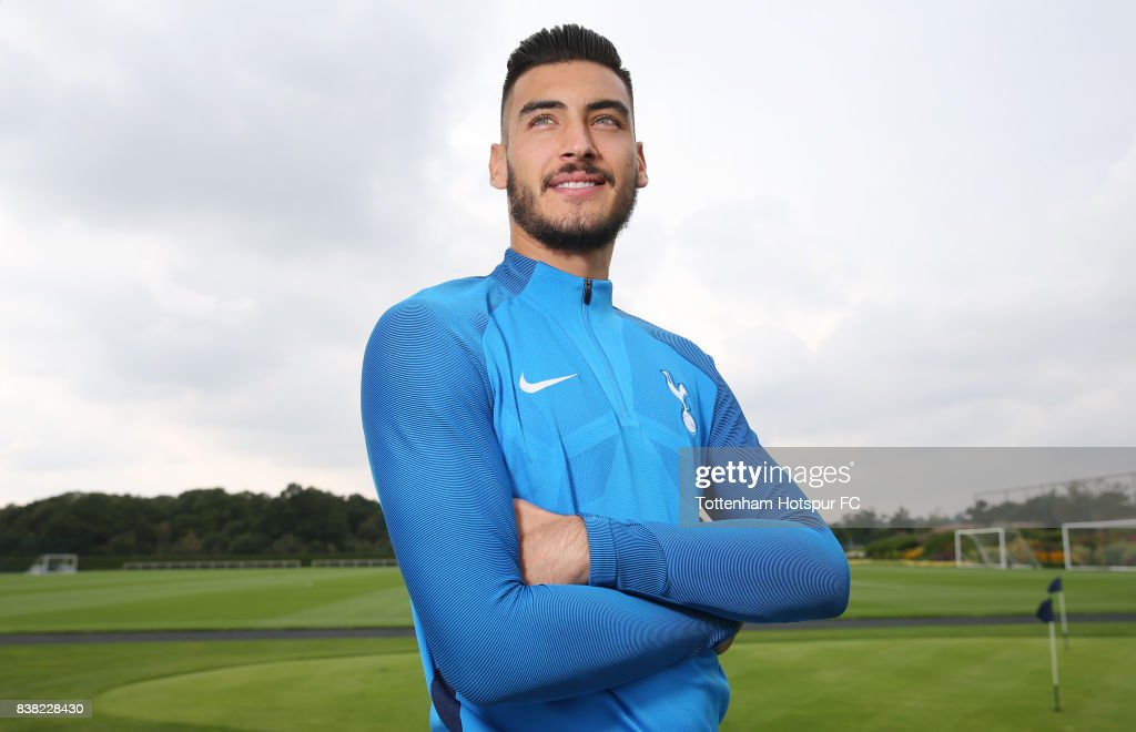 Paulo Gazzaniga poses after signing for Tottenham Hotspur on August 23, 2017 in Enfield, England.