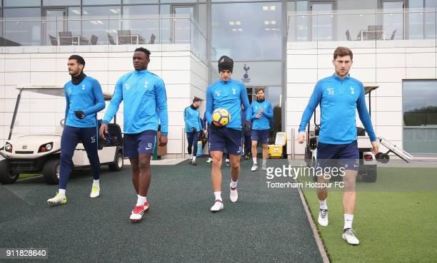Paulo Gazzaniga Victor Wanyama Erik Lamela and Ben Davies of Tottenham Hotspur during the Tottenham Hotspur training session at Tottenham Hotspur...