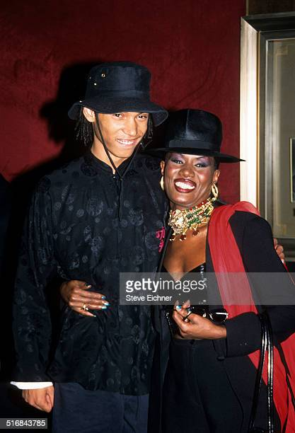 Paulo Goude and Grace Jones at Planet of the Apes Zeigfield premiere New York July 23 2001