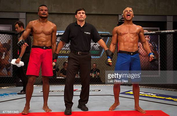 Paulo Henrique Costa celebrates after submitting Jose Roberto Rocha during their elimination fight for season three of The Ultimate Fighter Brazil on...