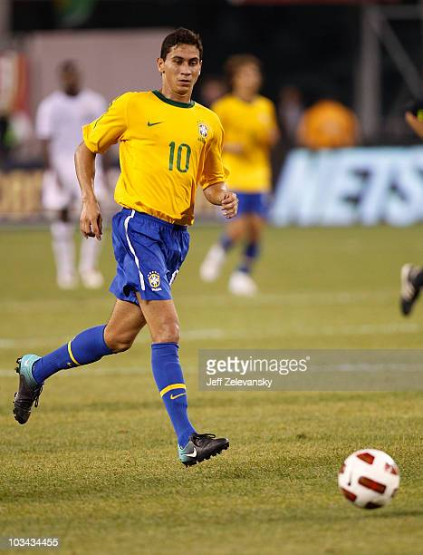 Paulo Henrique Ganso of Brazil runs upfield in the first half of a friendly match against the U.S. At the New Meadowlands on August 10, 2010 in East...