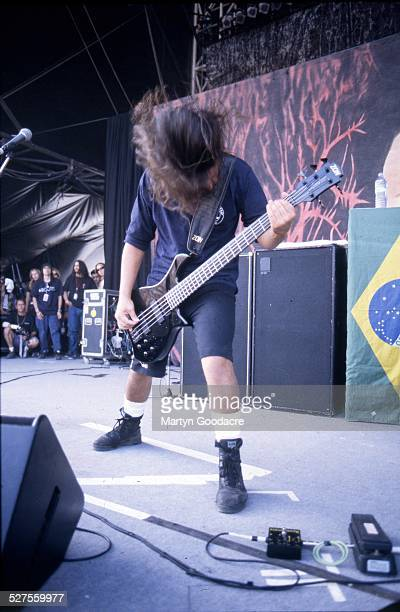 Paulo Jr of Sepultura performs on stage at Monsters Of Rock Donington Park United Kingdom 1994