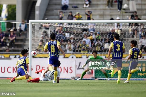 Paulo Junichi Tanaka of FC Gifu scores the opening goal during the JLeague J2 match between Thespa Kusatsu Gunma and FC Gifu at Shoda Shoyu Stadium...