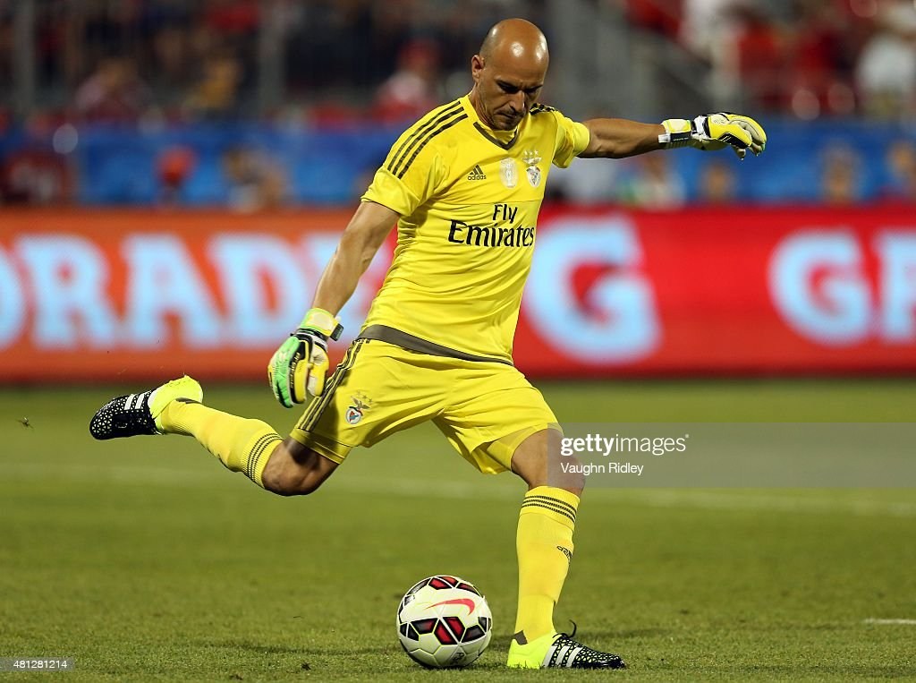 Paulo Lopes #13 of Benifca kicks the ball during the 2015 International Champions Cup match against Paris Saint-Germain at BMO Field on July 18, 2015 in Toronto, Ontario, Canada.