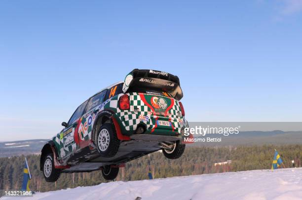 Paulo Nobre of Brazil and Edu Paula of Brazil compete in their WRC Team MINI Portugal during Day Three of the WRC Rally Sweden on February 12 2012 in...