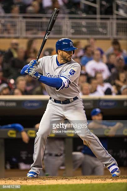 Paulo Orlando of the Kansas City Royals bats against the Minnesota Twins on May 23, 2016 at Target Field in Minneapolis, Minnesota. The Royals...