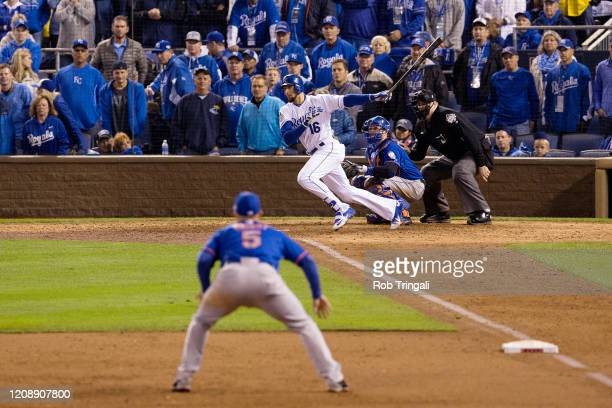Paulo Orlando of the Kansas City Royals bats during Game 1 of the 2015 World Series against the New York Mets at Kauffman Stadium on Tuesday, October...