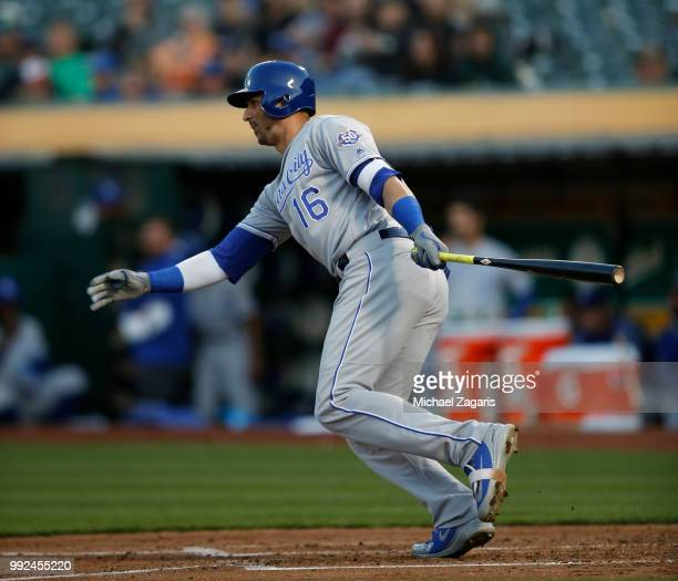 Paulo Orlando of the Kansas City Royals bats during the game against the Oakland Athletics at the Oakland Alameda Coliseum on June 7, 2018 in...