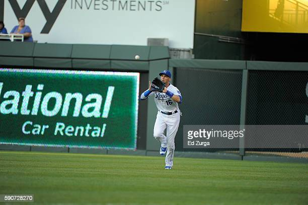 Paulo Orlando of the Kansas City Royals catches a ball against the Chicago White Sox at Kauffman Stadium on August 11, 2016 in Kansas City, Missouri.