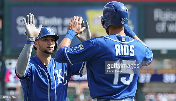 Paulo Orlando of the Kansas City Royals celebrates after hitting a two run home run to left field scoring Alex Rios during the third inning of the...