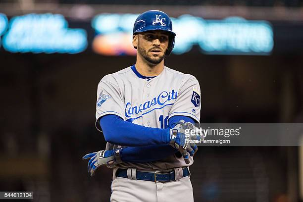 Paulo Orlando of the Kansas City Royals looks on against the Minnesota Twins on May 23, 2016 at Target Field in Minneapolis, Minnesota. The Royals...