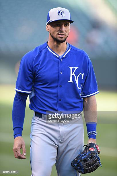 Paulo Orlando of the Kansas City Royals looks on before a baseball game against the Baltimore Orioles at Oriole Park at Camden Yards on September 11,...