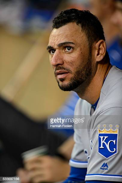 Paulo Orlando of the Kansas City Royals looks on before the game against the Minnesota Twins on May 23, 2016 at Target Field in Minneapolis,...