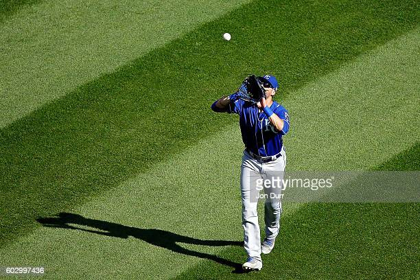 Paulo Orlando of the Kansas City Royals makes a catch for an out on a hit by Tyler Saladino of the Chicago White Sox to end the eighth inning at US...