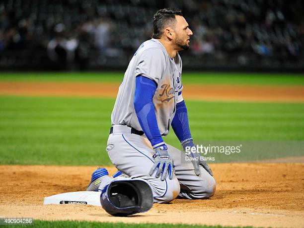 Paulo Orlando of the Kansas City Royals reacts after being thrown out against the Chicago White Sox during the fifth inning on October 1 2015 at US...