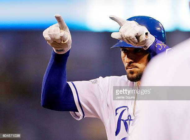Paulo Orlando of the Kansas City Royals reacts after hitting a single to drive in two runs during the 4th inning of the game against the Oakland...