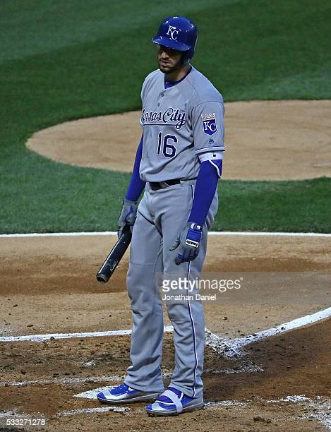 Paulo Orlando of the Kansas City Royals reacts after striking out to end the 3rd inning against the Chicago White Sox at US Cellular Field on May 20...