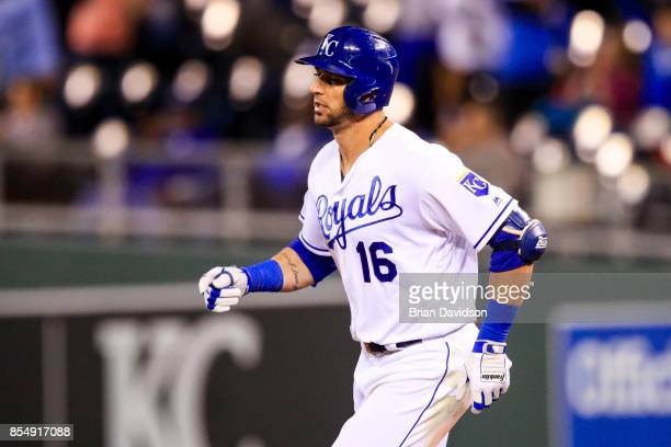 Paulo Orlando of the Kansas City Royals runs the bases after hitting a tworunhomerun against the Detroit Tigers during the seventh inning at Kauffman...