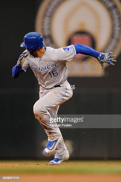 Paulo Orlando of the Kansas City Royals runs the bases against the Minnesota Twins during the game on May 23, 2016 at Target Field in Minneapolis,...