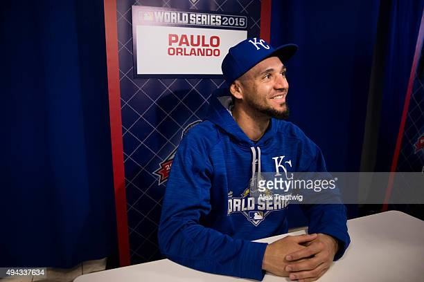 Paulo Orlando of the Kansas City Royals speaks to the media during the 2015 World Series Media Availability Day at Kauffman Stadium on Monday,...